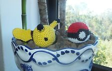 Handmade Cat kitten pet Toy, Pikachu + Pokeball crochet with mint catnip,Pokemon