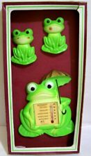 Vintage 1979 Miller Studio Chalkware 3 piece Frog Thermometer wall Hanging Nib