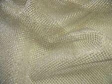 Lurex Net-Light Weiss Gold-Kleid Stoff-Kostenlose p&p