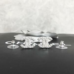 Chanel Earrings CC Logo Silver Pearl 0012