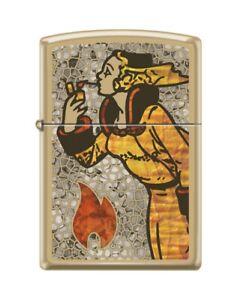 Zippo 59657 Windy Varga fusion flame hat coat high polish brass Lighter