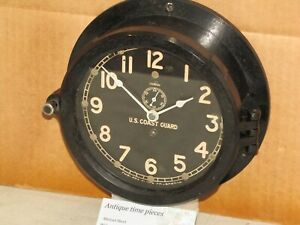 "CHELSEA VINTAGE SHIPS CLOCK~6"" DIAL~U.S COAST GUARD~WW2~1943~RESTORED"