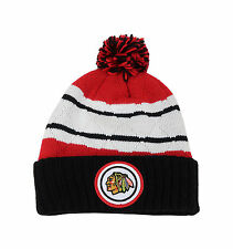 72e6070259b ... where to buy mitchell ness nhl beanie chicago blackhawks black red  quilted pom knit hat a440e