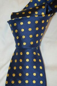 "$100 NWT HARVIE HUDSON London Navy w/ large yellow Spots 3.5"" woven silk tie"