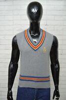 Maglione Uomo GURU Taglia L Pullover Cardigan Sweater Cashmere Grigio Smanicato