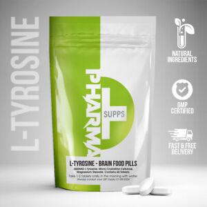 L-Tyrosine 2000mg Brain Food Pills, Mood Stress, Antidepressant Anxiety Tablets