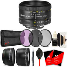 Nikon AF FX NIKKOR 50mm f/1.8D Lens for Nikon D80 D90 D7000 w/ Accessory Bundle