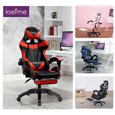 Racing Gaming Desk Chair Home Recliner Leather Computer Chair Swivel w/Footrest