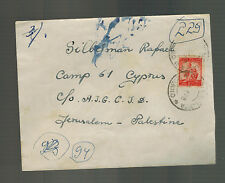 1948 Milan Italy Cover to Internment Camp 61 Limasol Cyprus via Palestine