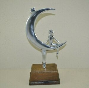 Rare Art Deco Chrome Girl Lady Swinging on a Crescent Moon under the Stars