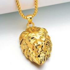Hiphop Street Wear Men Women 18K Gold Plated Lion Head Chain Pendant Necklace