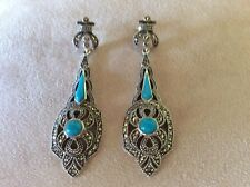 925 STERLING  SILVER HANDMADE   MARCASITE TURQUOISE EARRING E-2220+ EXPRESS POST