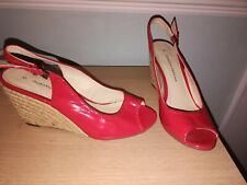 Ladies Dorothy Perkins Red Patent Wedge Shoes. Size 5