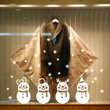 Merry Christmas Glass Wall Paper Stickers Snowman Snowflake Xmas Tree Decoration