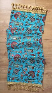 Turquoise Turkish Tulip Floral Pattern Table Runner with Tassels 140cm x 45cm