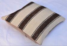 Brown and White Striped Turkish Kilim Pillowcase, Pillow  Cover  16''x 16''