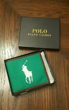 New Polo Ralph Lauren Big Pony Billfold bifold Canvas Leather Wallet THESPOT917