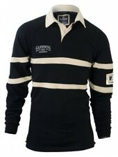 GuinnessTraditional Embroidered Black & Cream Rugby Jersey Mens Irish Shirt New