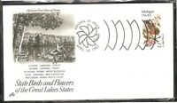 US SC # 1974 State Birds And Flowers ( Michigan ) FDC . Artcraft Cachet 1