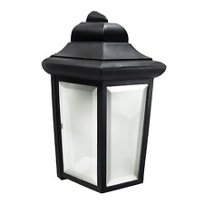 "Outdoor Porch Light 12"" Black Fixture Frosted Beveled Glass w/ LED Bulb _458-07"