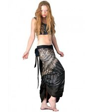 Brown & Black Reversible Hand Painted Long Feather Summer Beach Skirt