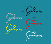 2 x Nurburgring car sticker decal choice of colours 120mm X 72mm c