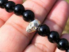 Black Tourmaline Skull Crystal Power Bracelet A Grade 8mm Beads Gemstone