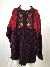 Icelandic Design Embroidered Zip Sweater Jacket Lined Women's Medium