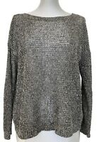 EILEEN FISHER GRAY SEMI-SHEER LINEN BLEND SWEATER, M, $565