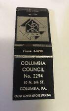 Vintage Matchbook Cover Matchcover Columbia Council No 2294 PA Unstruck
