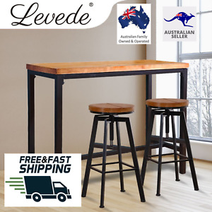 Levede 3pc Industrial Pub Table Bar Stool Wood Chair Set Home Kitchen Furniture