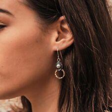 2.3 Ct Pearl Gemstone Gold Filled & Silver Drop/Dangle Earrings