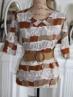 VINTAGE Diane Von Furstenberg Print Top Medium Animal Brown 1980's GREAT Cond