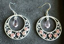 So Pretty! Silver and Pink Crystal Dangle Pierced Earrings Pink Bling!