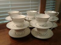 Vintage Set of Ten Royal Doulton Tiara Bone China H4915 Tea/Coffee Cup & Saucers