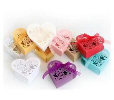 Laser Cut Rose Flower Love Heart Shape Gift Box for Wedding, Baby Shower Parties