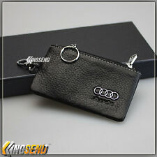 new Audi Genuine Cow Leather Car Key Bag Remote Cover Holder Case Ring Chain