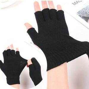 2Pairs MENS THINSULATE KNITTED FINGERLESS GLOVES WINTER WARM WOLLY MITTS HOT