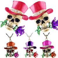 Rose Hat Rhinestone Enamel Ribbon Pendant Necklace Jewelry Skull Wholesale Hot