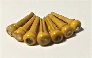 Aged Superb Genuine Bone Bridge Pin With ABALONE inlay MYW Free S&H -