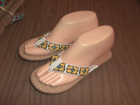 NWOB Yellow Beaded Brown Suede MINNETONKA Sandals Size 6 7  5
