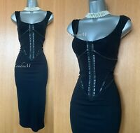 Karen Millen UK 10 Black Jersey Leather Detail Fit Flare Formal Midi Dress EU 38