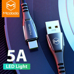 Mcdodo Type C LED Light 5A Super Fast Charging USB-C Cable For Samsung Huawei