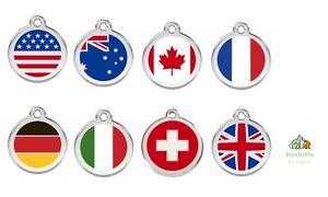 RED DINGO ENGRAVED FLAG DOG / CAT IDENTITY TAG UK GERMAN US ITALIAN FRENCH SWISS