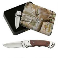 """Browning Whitetail Folding Pocket Knife 2.75"""" Set W/Tin 440 Stainless 3220069"""