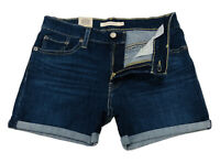 Levi's Women's Mid Length Short In Maui Ocean Depths Dark Wash Blue