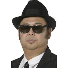 Men's Blues Brothers Hat & Glasses Fancy Dress Costume Gangster Comedy Stag Fun