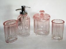 CARO Bath Accessory Set BUBBLE GLASS OMBRE PINK soap pump jar toothbrush  tumbler