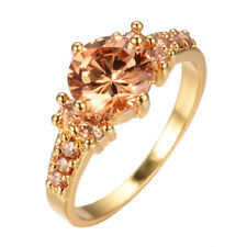 Women's Round Cut Topaz Yellow Gold Filled Wedding Fashion Ring Jewelry Sz 6-10
