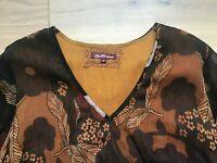 JOE BROWNS Tunic Dress Brown Floral Tie Belt Sequin UK18 EU46